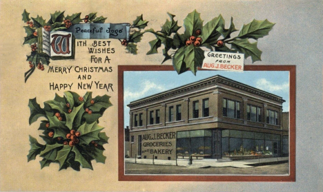 Becker Grocery Christmas Card, Red Wing Minnesota, 1915