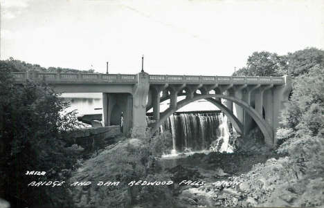 Bridge and dam, Redwood Falls Minnesota, 1960's