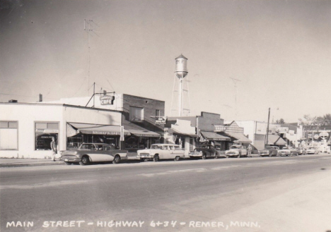 Main Street, Highways 6 and 34, Remer Minnesota, late 1950's
