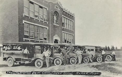 Transportation Department, Consolidated School, Remer Minnesota, 1920's