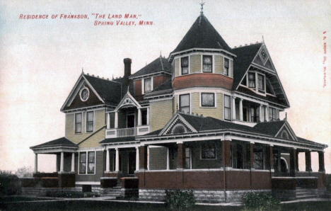 "Residence of Frankson, ""The Land Man"", Spring Valley Minnesota, 1910's"