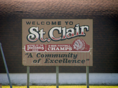 Welcome sign, St. Clair Minnesota, 2014