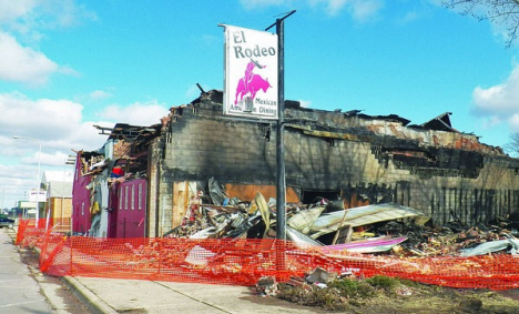 El Rodeo Restaurant after being detroyed by fire, Trimont Minnesota, 2013