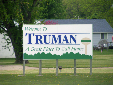 Welcome sign, Truman Minnesota, 2014
