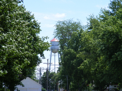 Water tower through the trees, Waldorf Minnesota, 2014