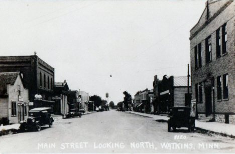 Main Street looking north, Watkins Minnesota, 1930's