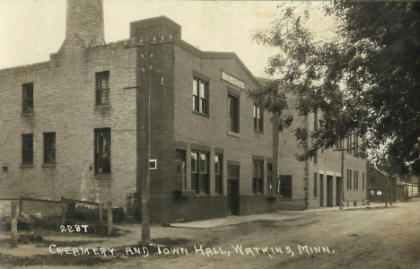 Creamery and Town Hall, Watkins Minnesota, 1910's