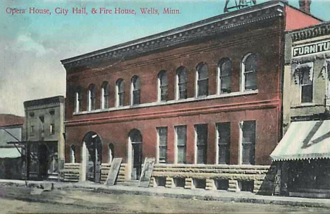 Opera House, City Hall and Fire House, Wells Minnesota, 1908
