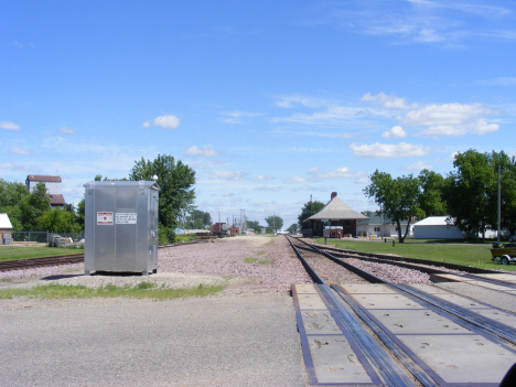 Railroad tracks and old depot (now museum), Wells Minnesota, 2014