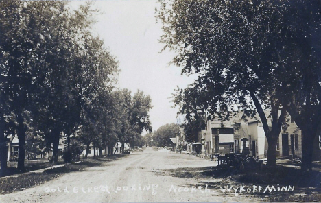 Gold Street (now Main Street) looking north, Wykoff Minnesota, 1914