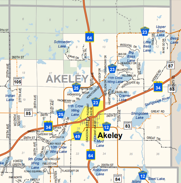 Map of Akeley Township Minnesota