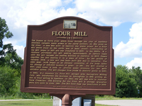 Historical marker at site of Jennison Flour Mill, Appleton Minnesota, 2014