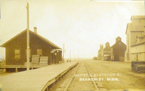 Depot and Elevators, Beardsley Minnesota, 1911