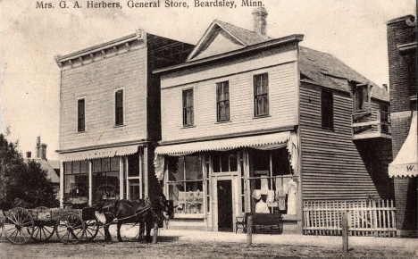 Mrs. G. A. Herbers, General Store, Beardsley Minnesota, 1910