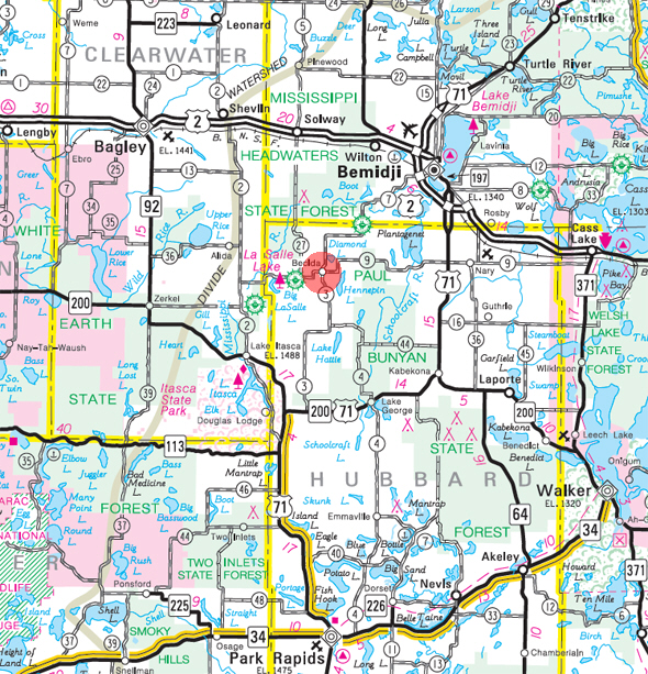 Minnesota State Highway Map of the Becida Minnesota area