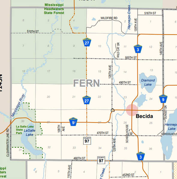 Map of Fern Township Minnesota