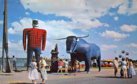 Paul Bunyan and Babe The Blue Ox, Bemidji Minnesota, early 1960's