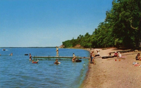 Beach Scene at Lake Bemidji State Park, Bemidji Minnesota, 1956
