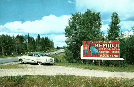 Billboard on US Highway 71 near Bemidji Minnesota, 1954