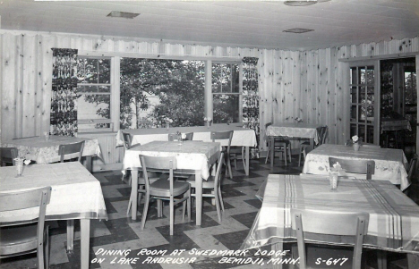 Dining room at Swedmark Lodge on Lake Andrusia, Bemidji Minnesota, 1952