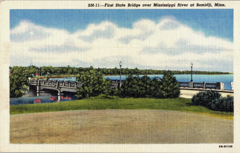 First State Bridge over Mississippi River at Bemidji Minnesota, 1948