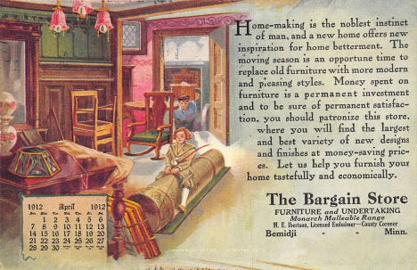 Advertising postcard for The Bargain Store, Bemidji Minnesota, 1912