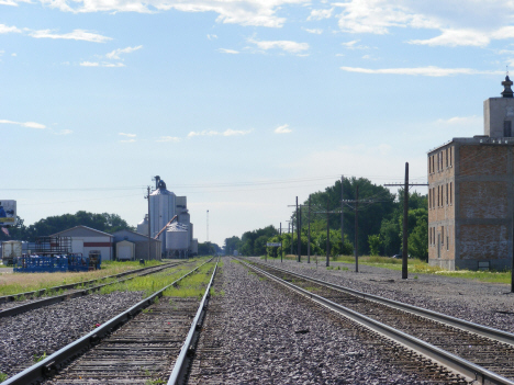 Railroad tracks and grain elevator, Benson Minnesota, 2014