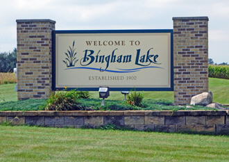 Welcome sign, Bingham Lake Minnesota