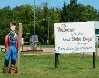 Welcome sign, Boy River Minnesota