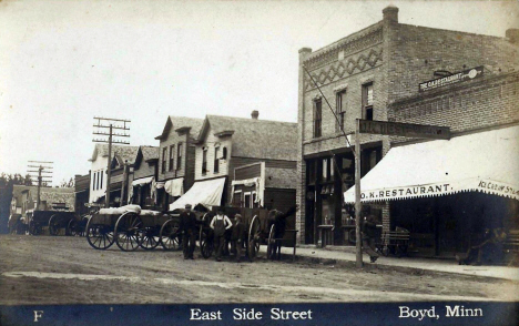 East side of street, Boyd Minnesota, 1910's