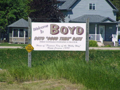 Welcome sign, Boyd Minnesota, 2014