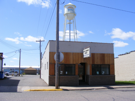 Central Insurance Services with Water Tower in background, Braham Minnesota, 2007