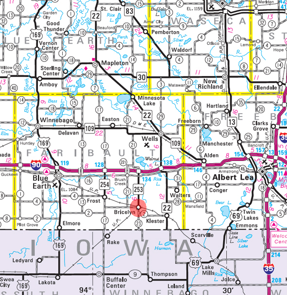 Minnesota State Highway Map of the Bricelyn Minnesota area