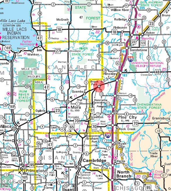 Minnesota State Highway Map of the Brook Park Minnesota area