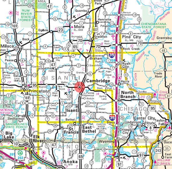 Minnesota State Highway Map of the Cambridge Minnesota area