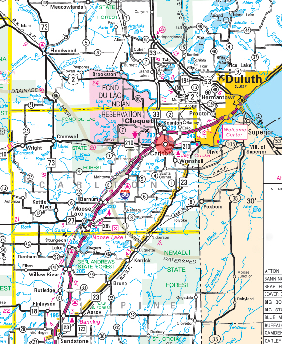 Minnesota State Highway Map of the Carlton Minnesota area