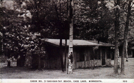 Cabin Number 5, Sah-Kah-Tay Beach, Cass Lake Minnesota, 1948