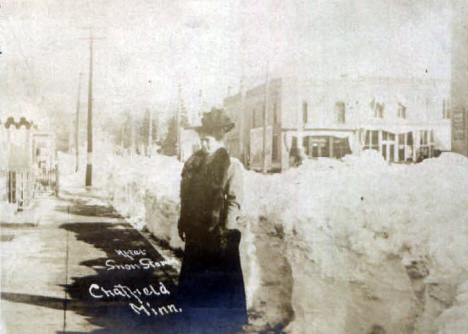 Downtown after snow storm, Chatfield Minnesota, 1907?