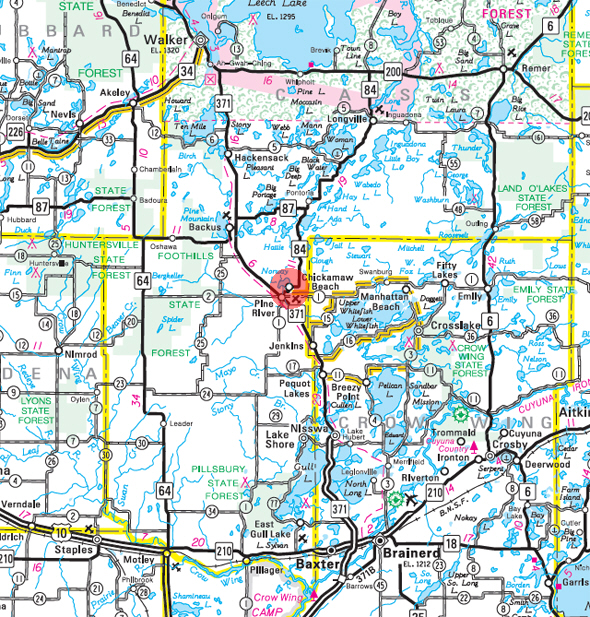 Minnesota State Highway Map of the Chickamaw Beach Minnesota area
