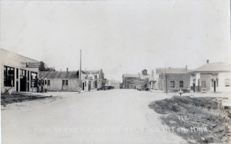 Street scene looking west, Clinton Minnesota, 1920's