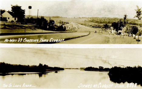 Views of State Highway 33 and the St. Louis River, Cloquet Minnesota, 1940's