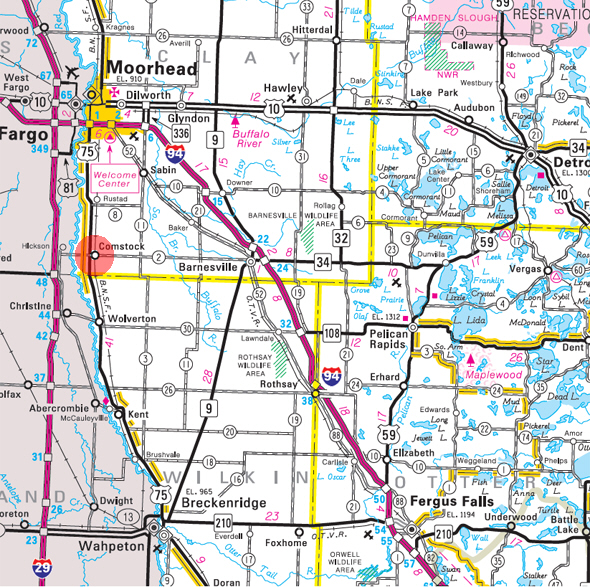 Minnesota State Highway Map of the Comstock Minnesota area
