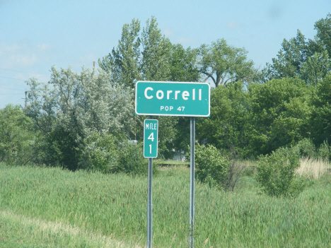 Population sign, Correll Minnesota, 2014