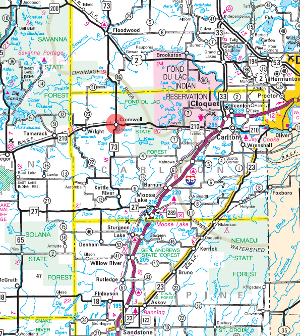 Minnesota State Highway Map of the Cromwell Minnesota area