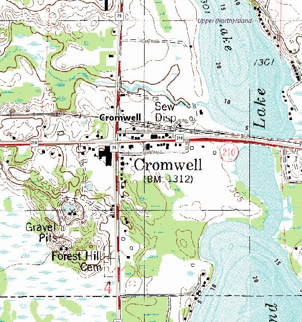 Topographic map of the Cromwell Minnesota area