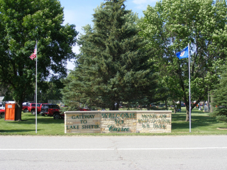 Welcome sign, Currie Minnesota, 2014
