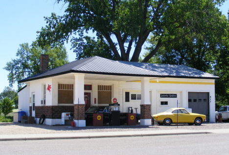 Historic old gas station restored and used as a residence, Dawson Minnesota, 2014
