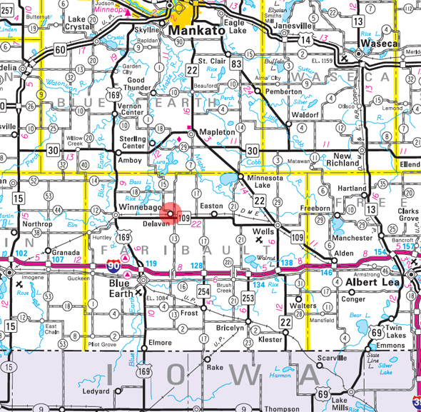 Minnesota State Highway Map of the Delavan Minnesota area