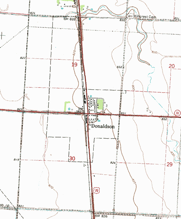 Topographic map of the Donaldson Minnesota area