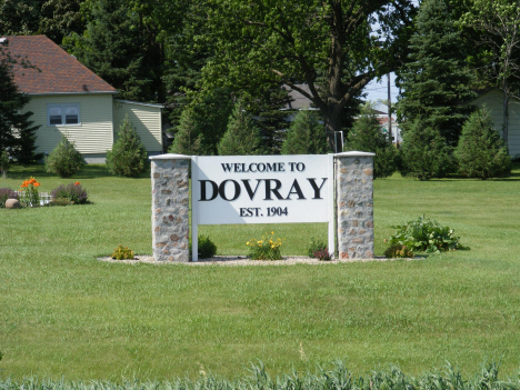 Welcome sign, Dovray Minnesota, 2014